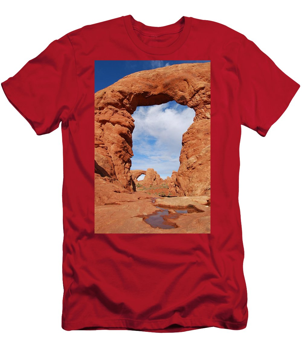 Windows Arch Men's T-Shirt (Athletic Fit) featuring the photograph Windows And Turret Arches by Cascade Colors