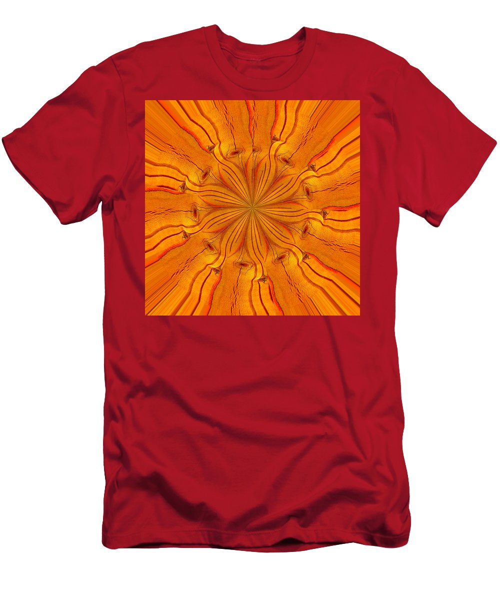 Abstract Men's T-Shirt (Athletic Fit) featuring the photograph Wooden Flower by Brent Dolliver