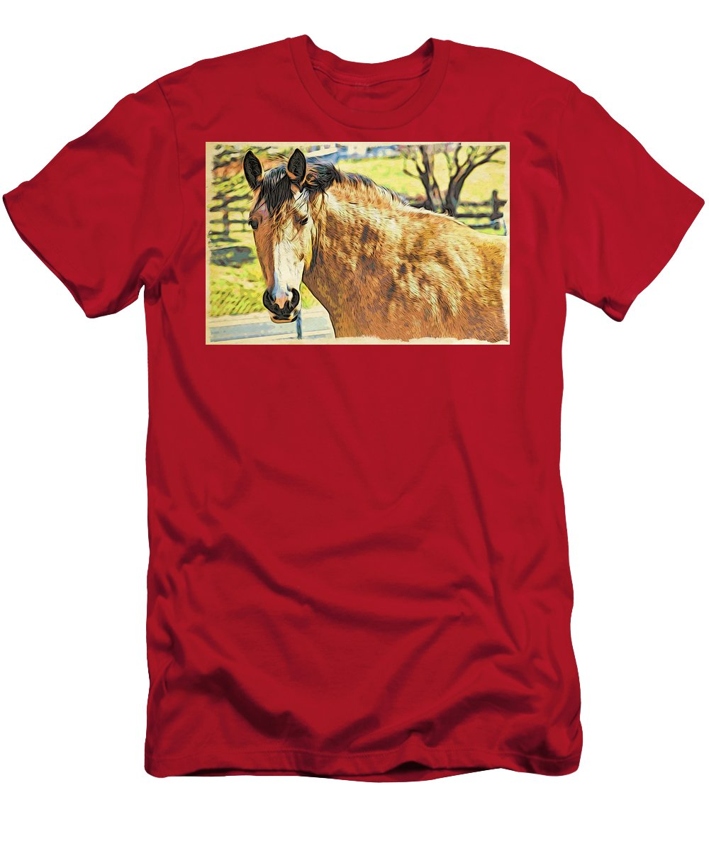 Horse Men's T-Shirt (Athletic Fit) featuring the photograph Yeller Horse by Alice Gipson