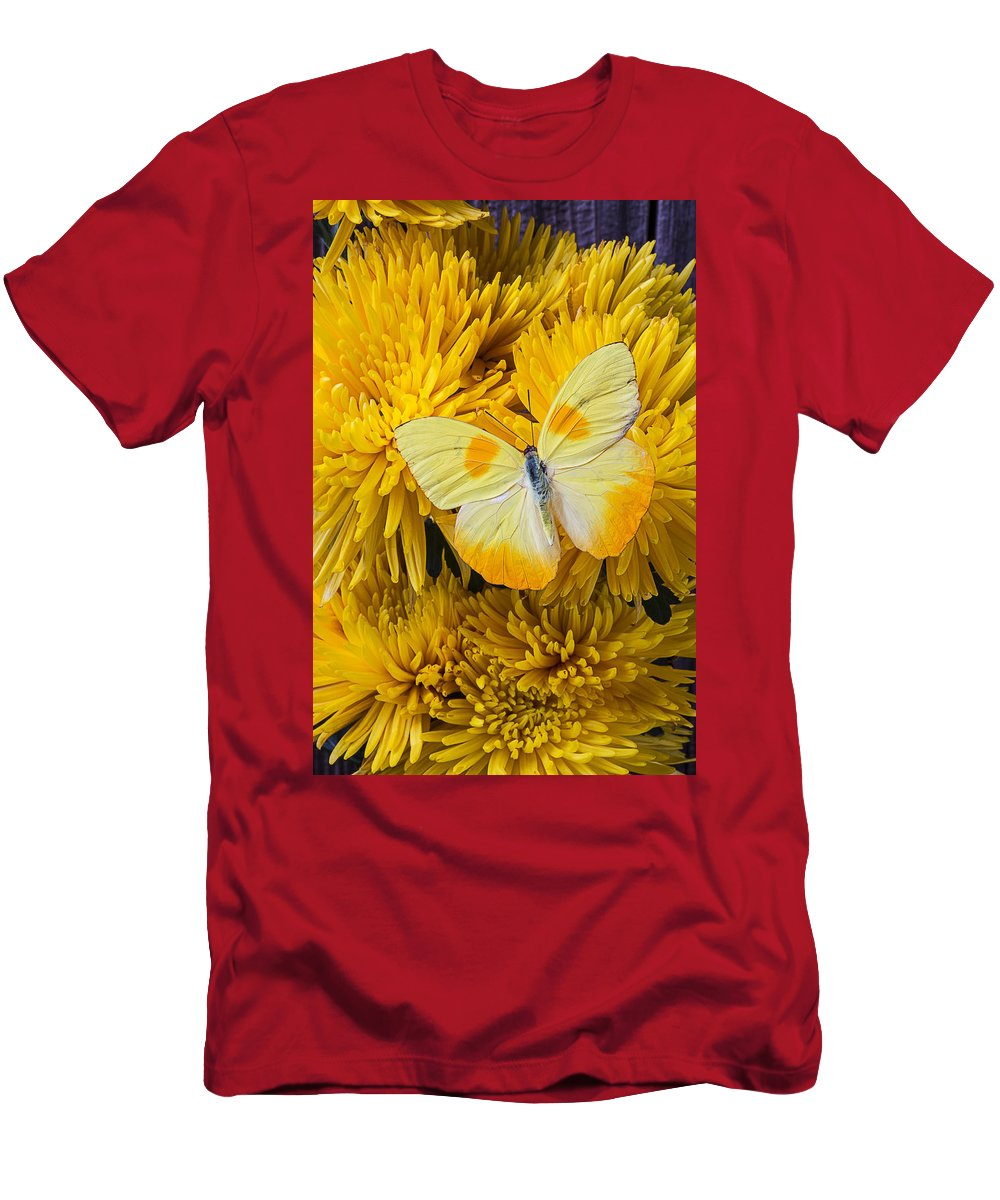 Yellow Spider Men's T-Shirt (Athletic Fit) featuring the photograph Yellow Butterfly On Yellow Mums by Garry Gay