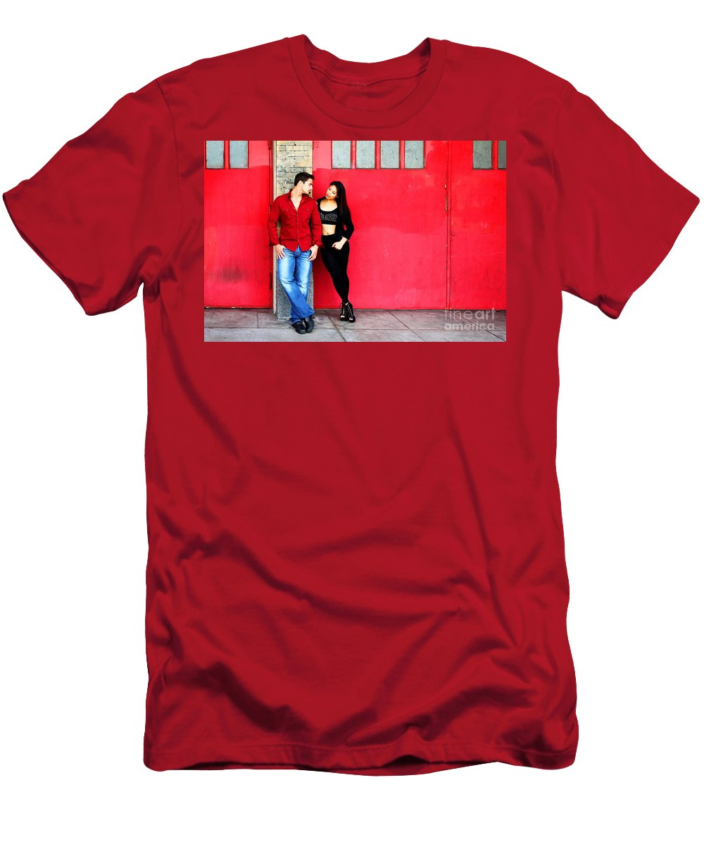 Filipino Men's T-Shirt (Athletic Fit) featuring the photograph Young Couple Red Doors by Henrik Lehnerer