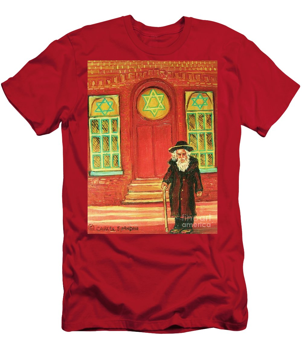 Synagogues Men's T-Shirt (Athletic Fit) featuring the painting Zaida's Shul by Carole Spandau