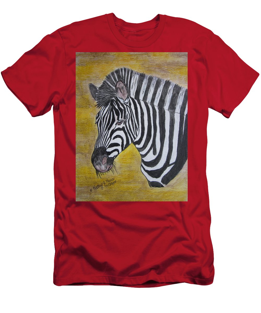 Zebra T-Shirt featuring the painting Zebra Portrait by Kathy Marrs Chandler