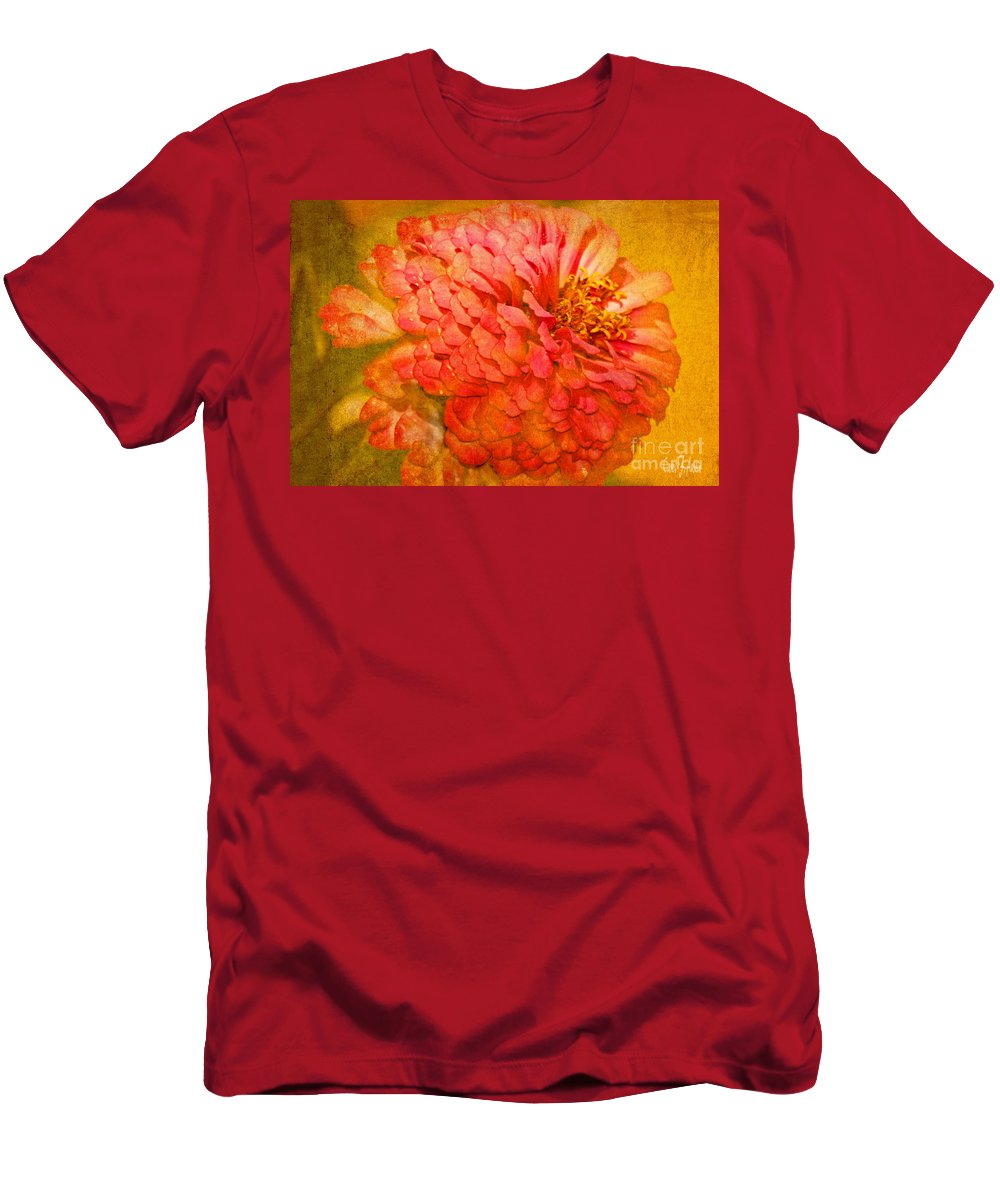 Tranquility Men's T-Shirt (Athletic Fit) featuring the photograph Zinnia Petals by Carol F Austin