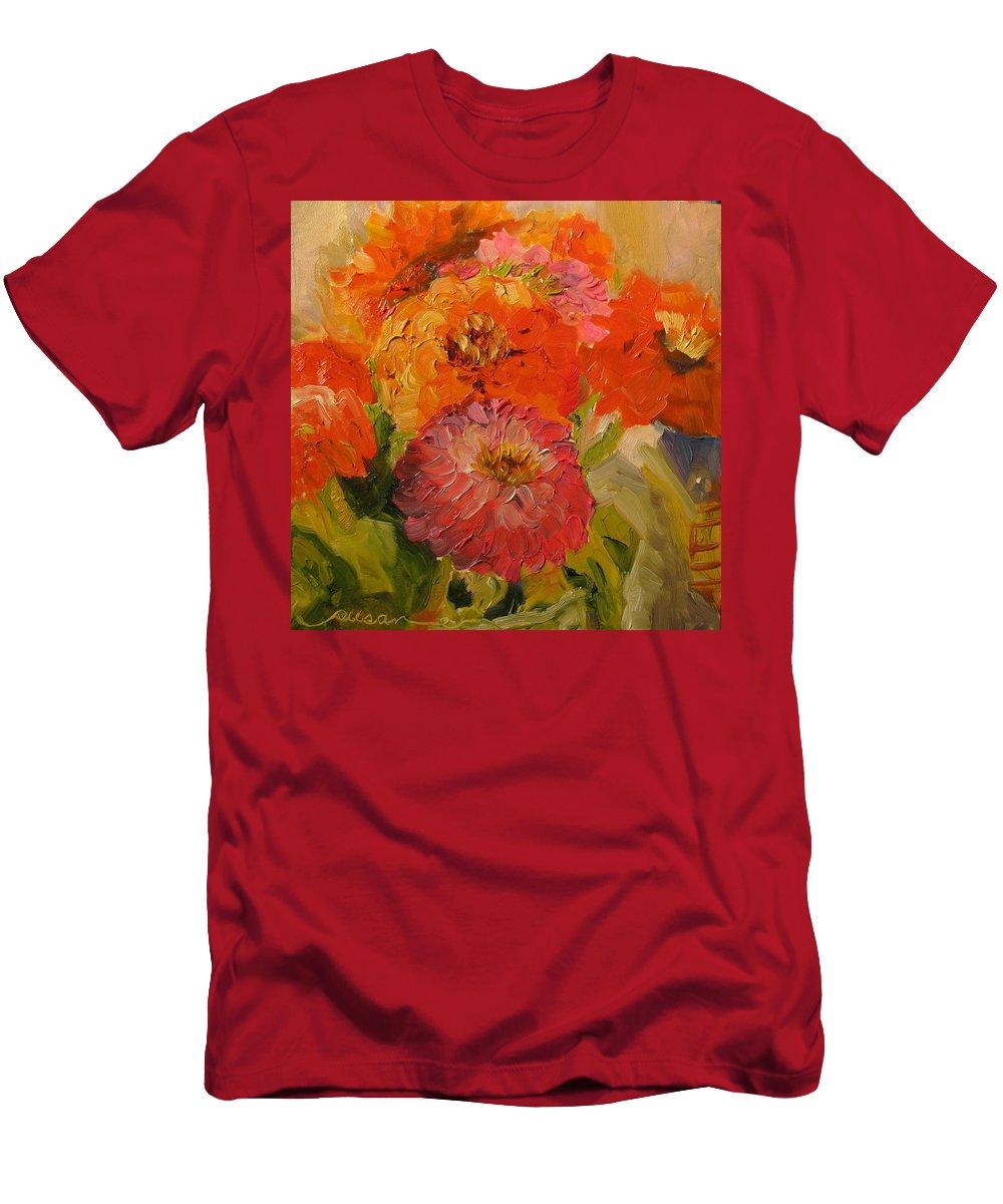Floral Men's T-Shirt (Athletic Fit) featuring the painting Zinnias by Susan Elizabeth Jones
