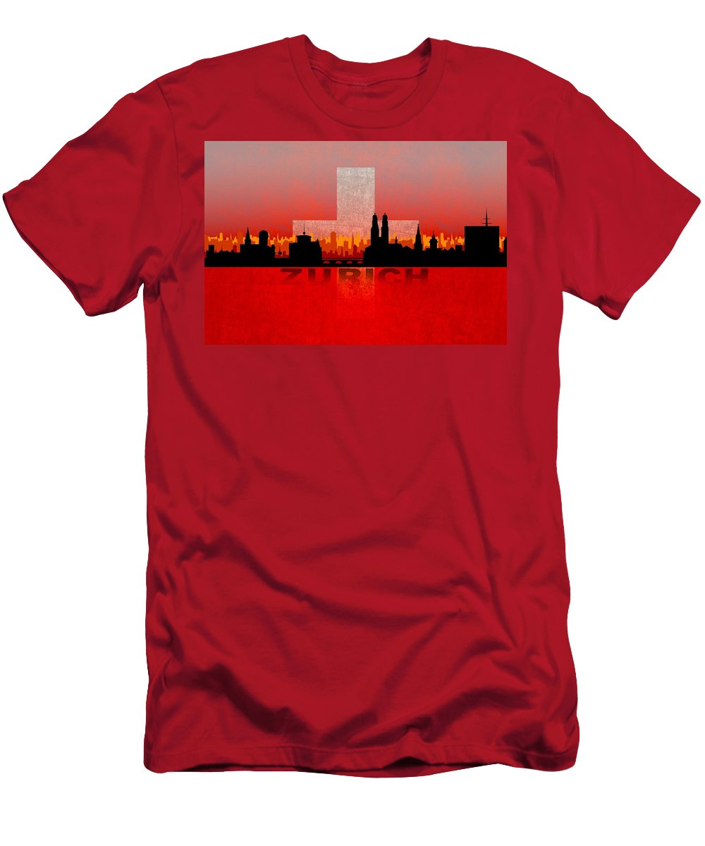 Architecture Men's T-Shirt (Athletic Fit) featuring the digital art Zurich City by Don Kuing