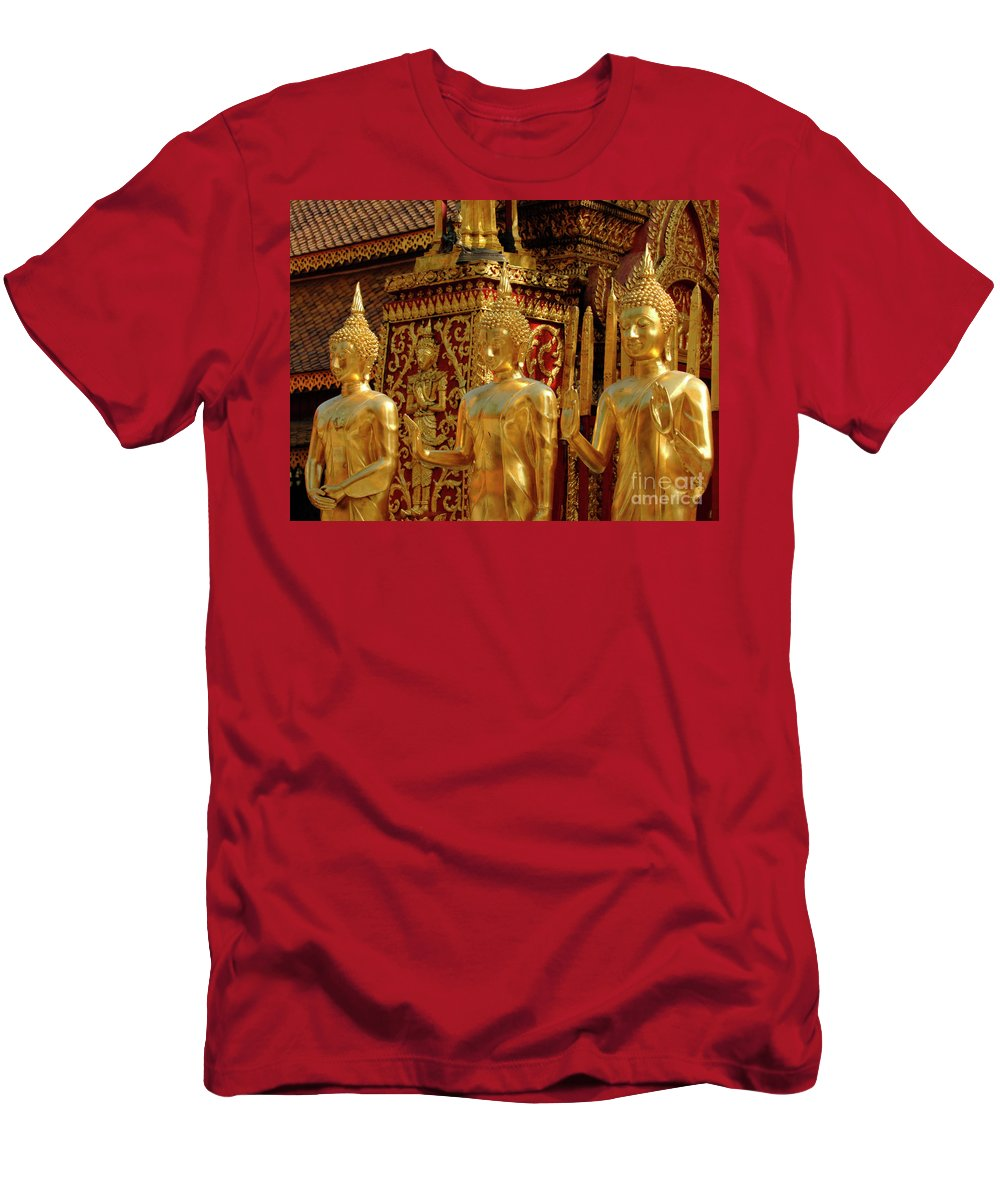 Hands Men's T-Shirt (Athletic Fit) featuring the photograph Golden Buddhas by Bob Christopher