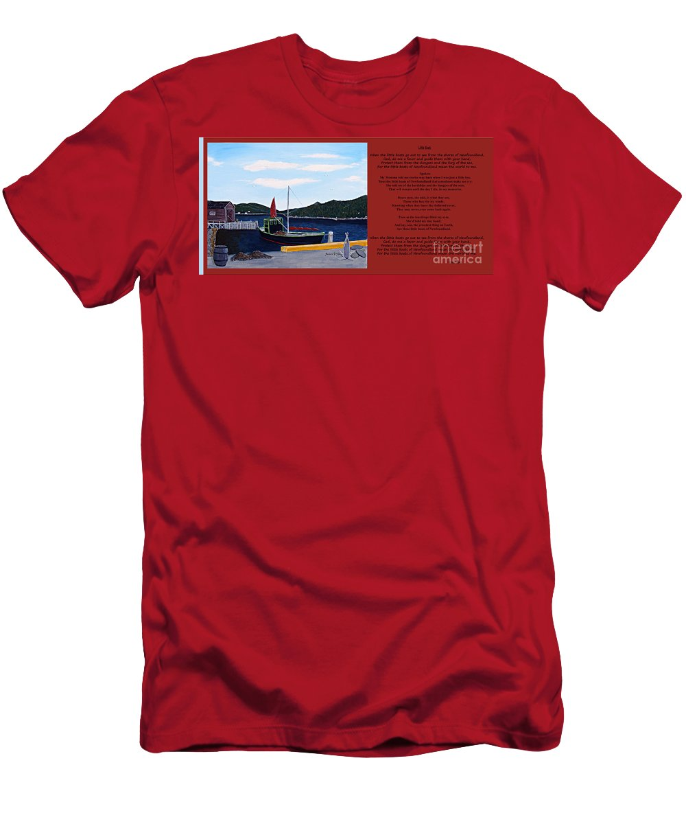 Little Boats Men's T-Shirt (Athletic Fit) featuring the painting Little Boats by Barbara Griffin