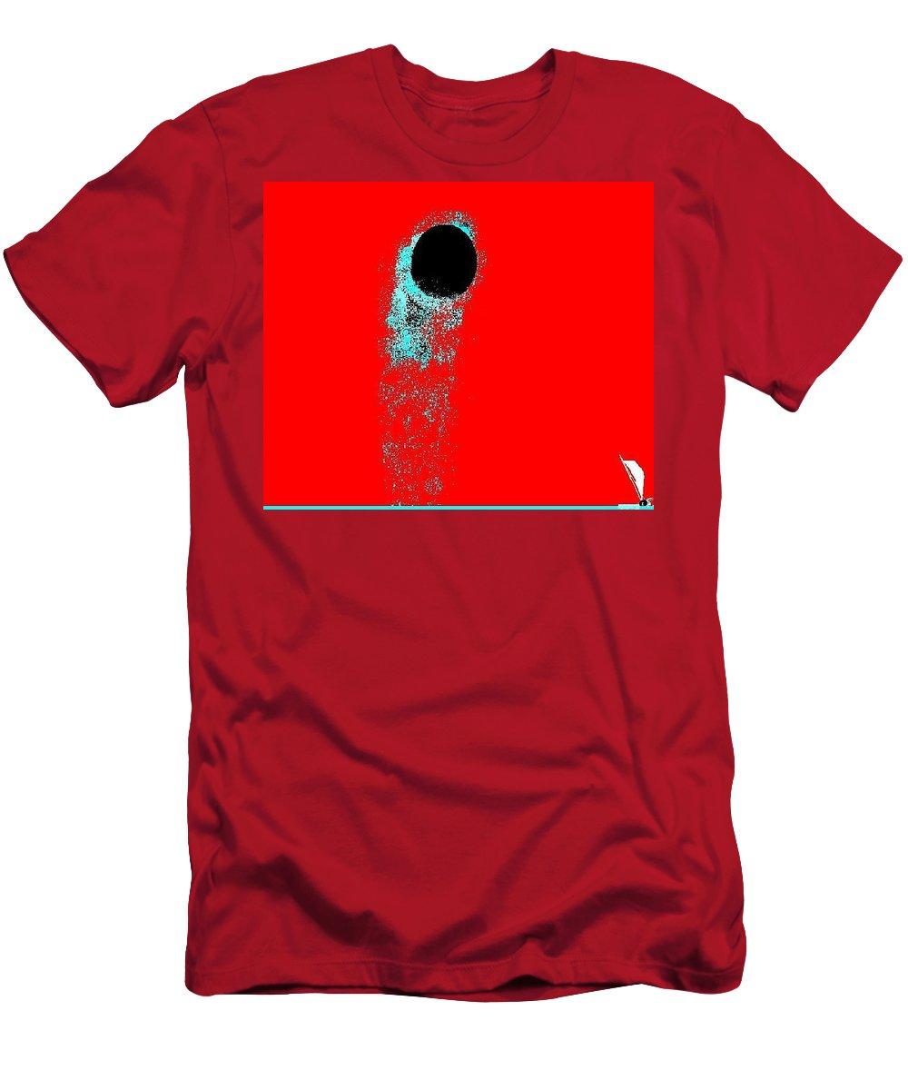Moon Sailboat Men's T-Shirt (Athletic Fit) featuring the digital art Moonclipse by Enriquemontana Garcia