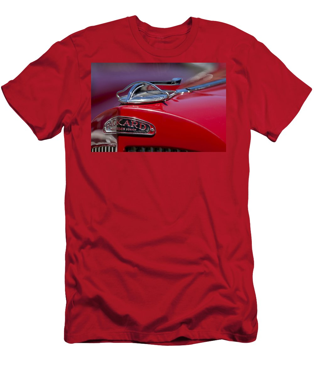 1937 Packard 115-c Cabriolet Men's T-Shirt (Athletic Fit) featuring the photograph 1937 Packard 115-c Cabriolet Hood Ornament by Jill Reger