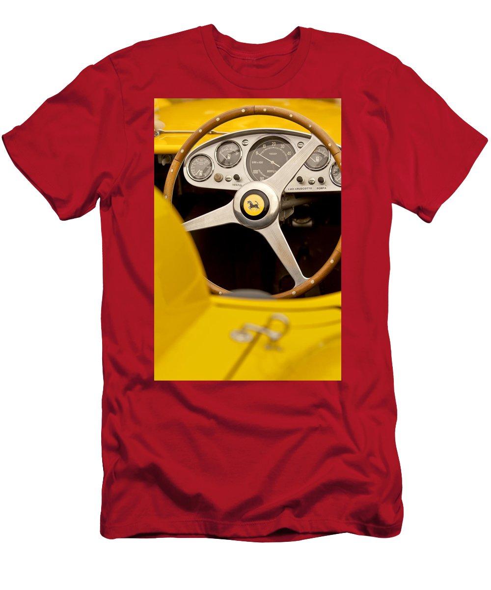 1957 Ferrari 500 Trc Scaglietti Spyder Men's T-Shirt (Athletic Fit) featuring the photograph 1957 Ferrari 500 Trc Scaglietti Spyder Steering Wheel by Jill Reger