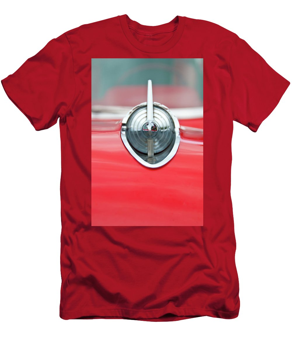 Automobile Men's T-Shirt (Athletic Fit) featuring the photograph '57 Chevy Hood Ornament 8508 by Guy Whiteley