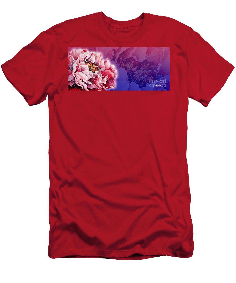 Peony Men's T-Shirt (Athletic Fit) featuring the mixed media Peony by Zaira Dzhaubaeva