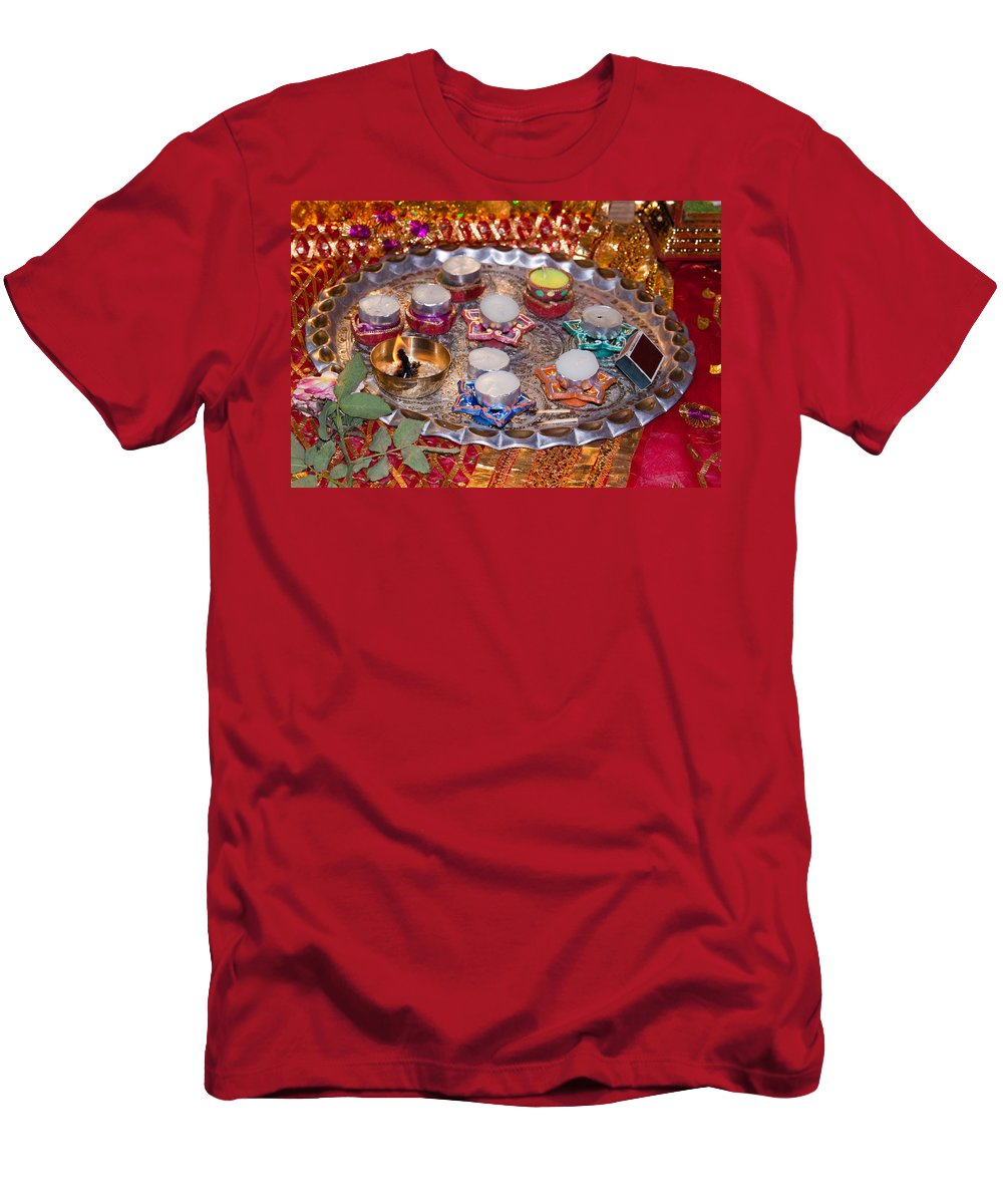 Hindu Men's T-Shirt (Athletic Fit) featuring the photograph A Decorated Hindu Prayer Thaali With Wax Candles Oil Lamps by Ashish Agarwal
