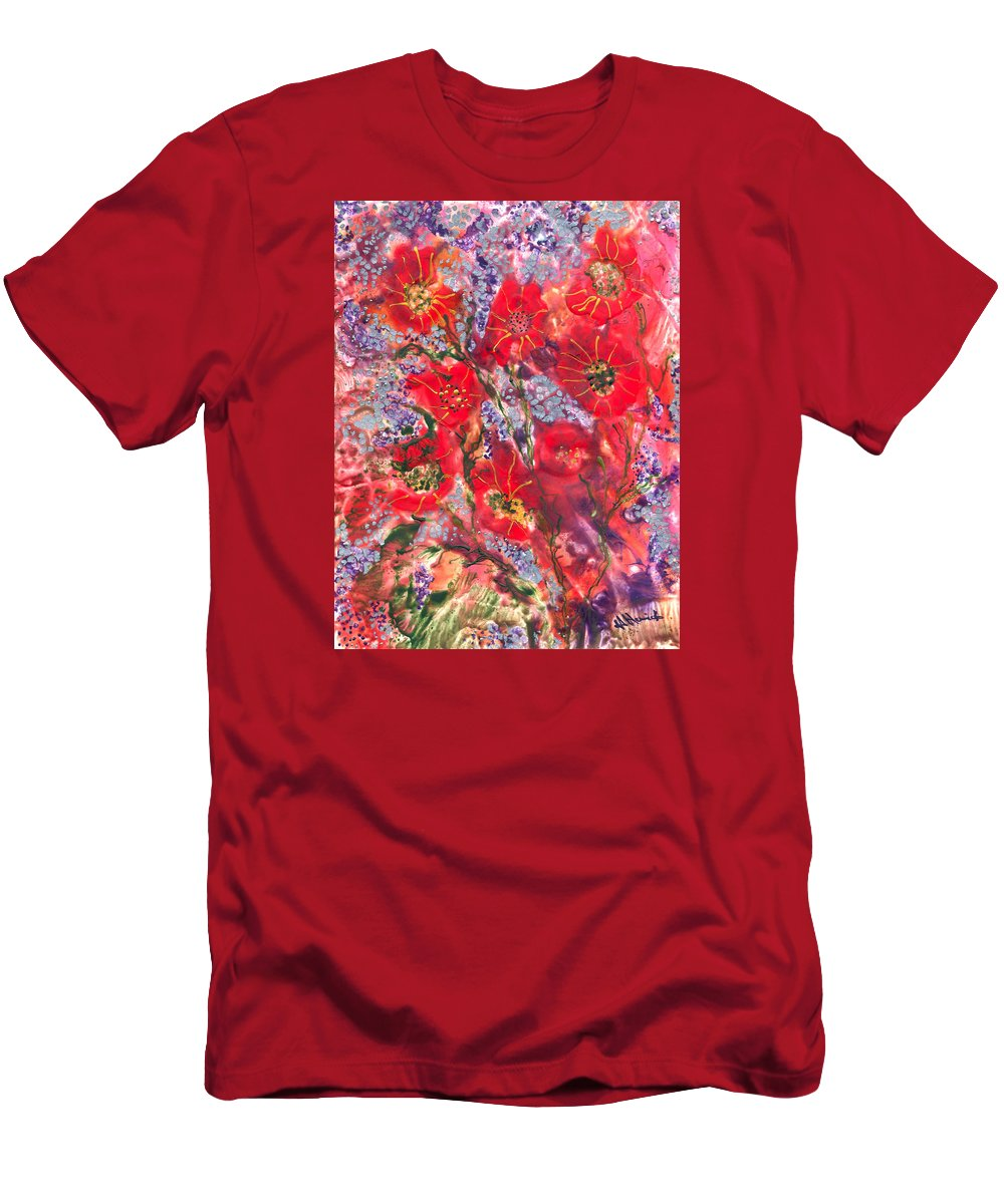 Flowers Men's T-Shirt (Athletic Fit) featuring the painting A Winter Healing Garden by Heather Hennick