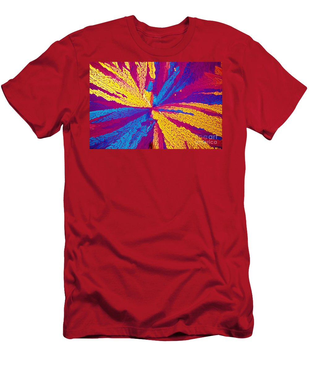 Polarized Light Micrograph Men's T-Shirt (Athletic Fit) featuring the photograph Acetylcholine by Michael W. Davidson