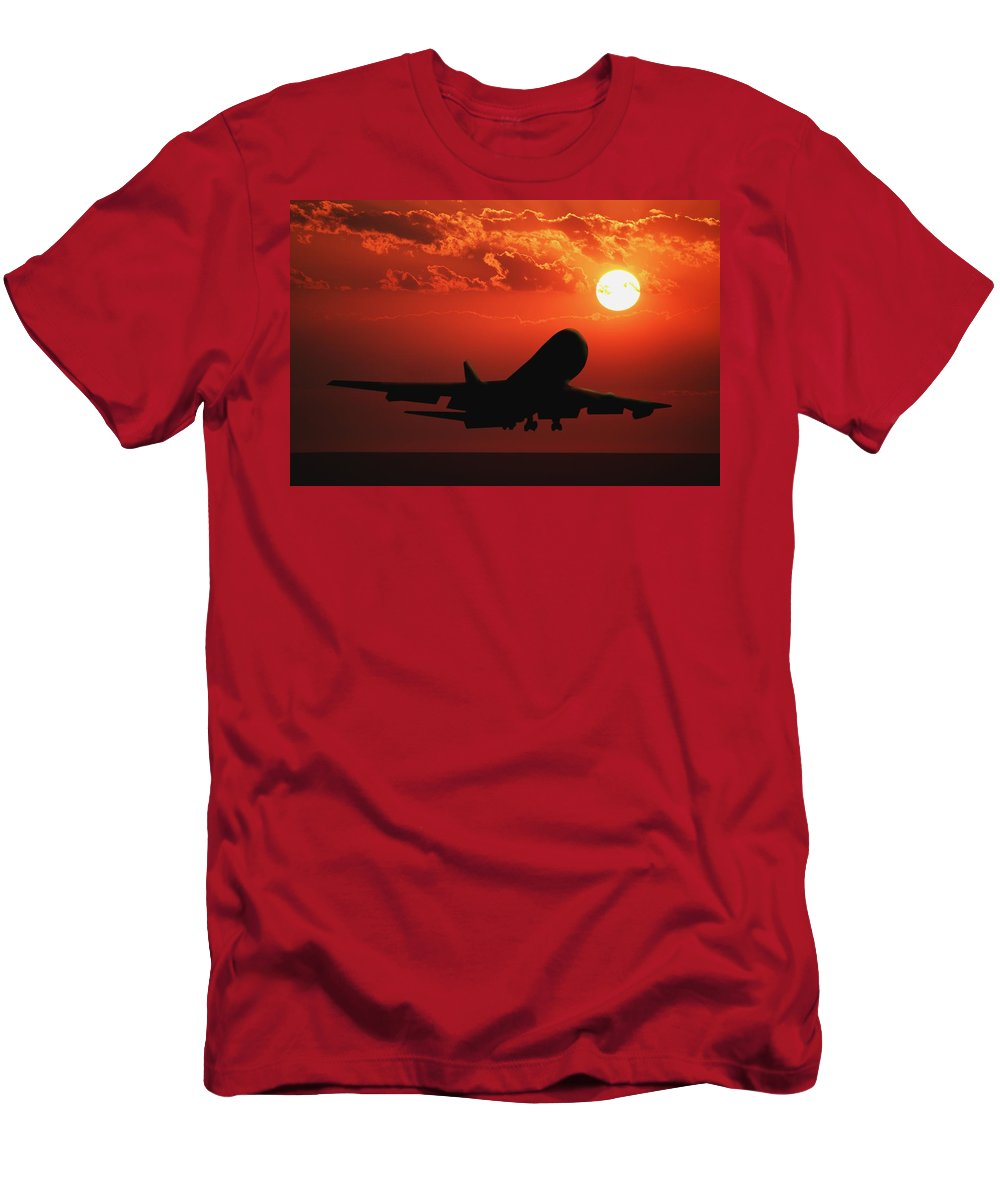 Airliner Men's T-Shirt (Athletic Fit) featuring the photograph Airplane Landing At Sunset by Don Hammond