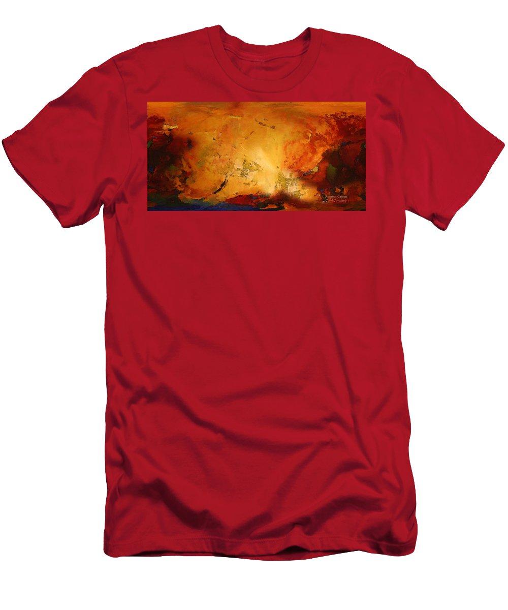 Autumn Art Men's T-Shirt (Athletic Fit) featuring the mixed media Autumn Canvas by Carol Cavalaris