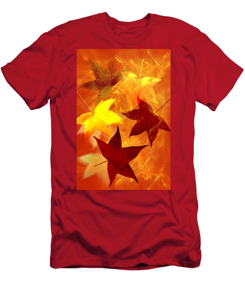 Abstract Men's T-Shirt (Athletic Fit) featuring the digital art Autumn Leaves by Carol and Mike Werner