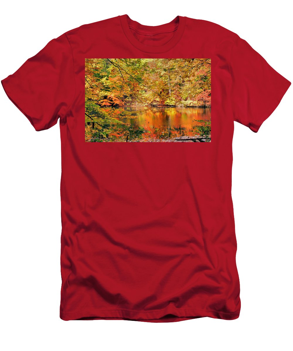 Autumn Men's T-Shirt (Athletic Fit) featuring the photograph Autumn Reflections by Kristin Elmquist