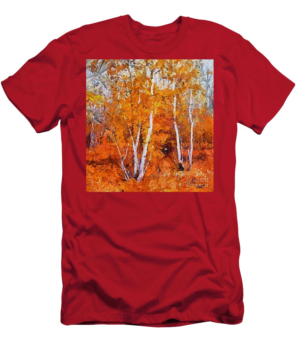 Fall Men's T-Shirt (Athletic Fit) featuring the painting Birch Trees In Autumn by Dragica Micki Fortuna