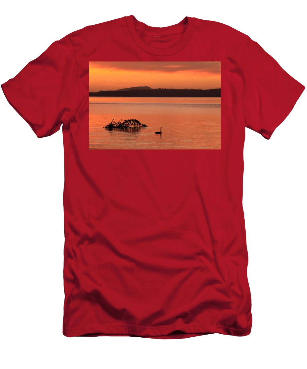 Men's T-Shirt (Athletic Fit) featuring the photograph Black Swan Swims In Rotortua by Rebecca Akporiaye