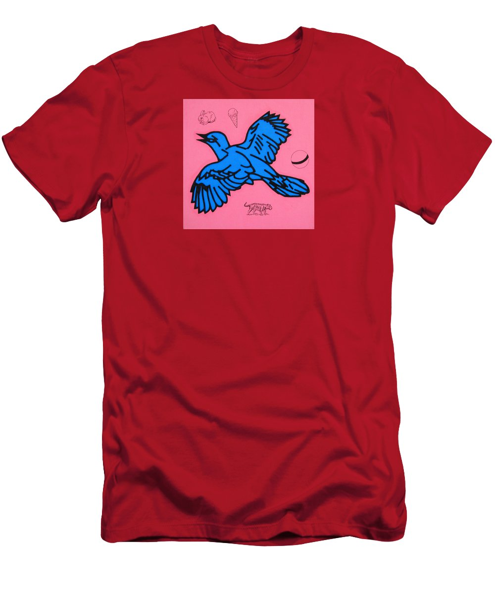 Bird Men's T-Shirt (Athletic Fit) featuring the painting Bluebird On Pink by Steve Fields