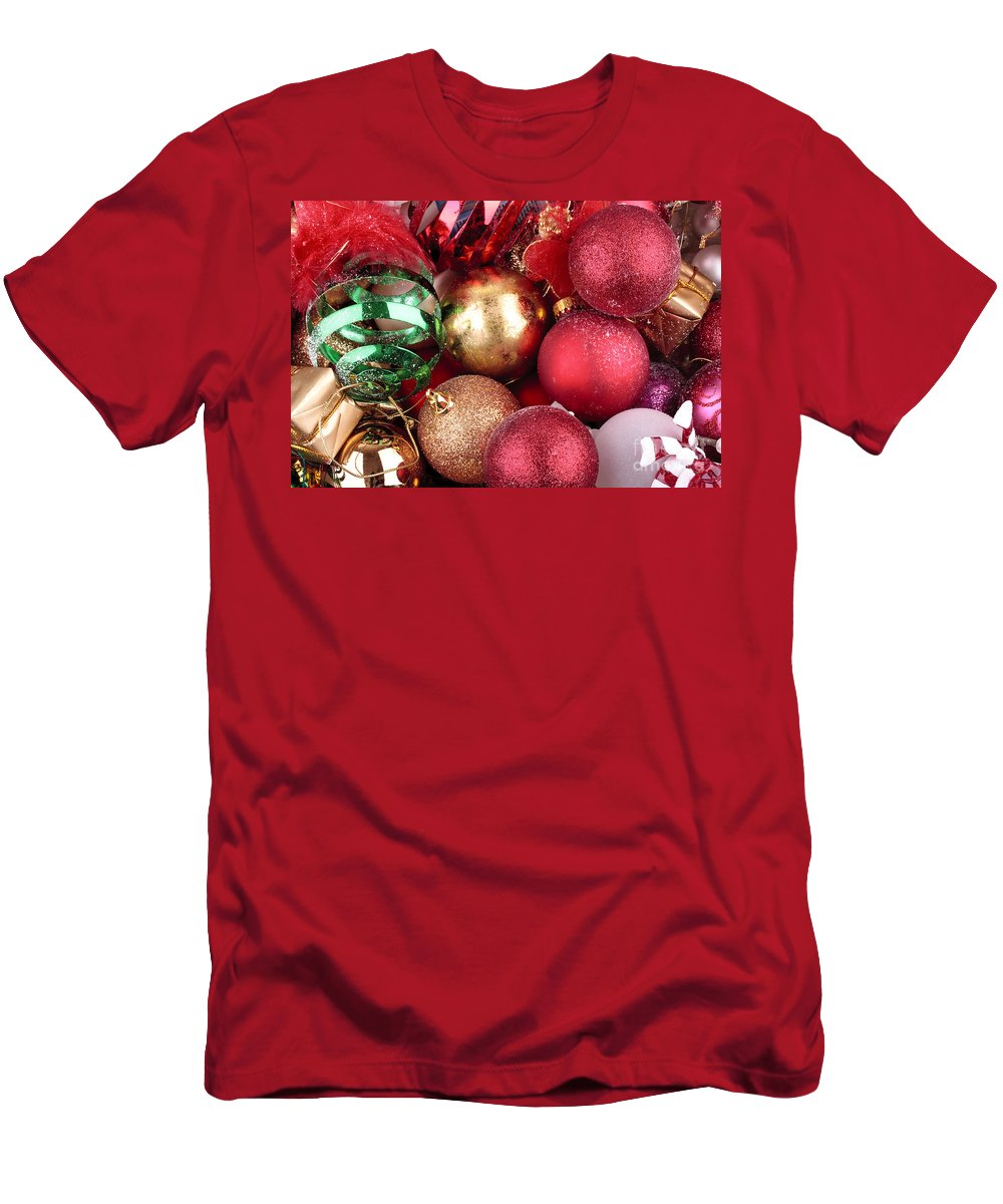 Background Men's T-Shirt (Athletic Fit) featuring the photograph Box Of Christmas Decorations by Simon Bratt Photography LRPS