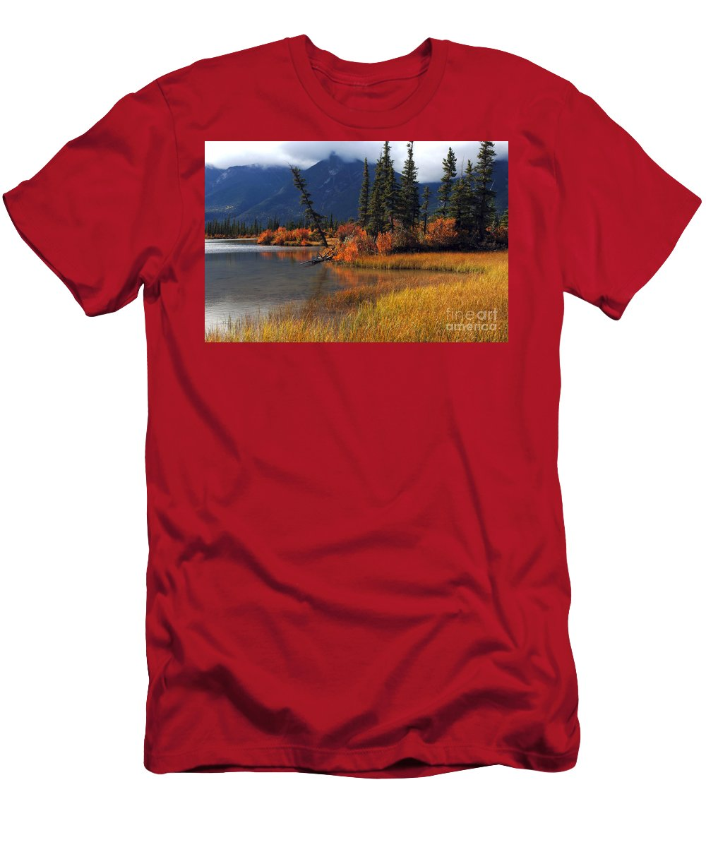 Canadian Rockies Men's T-Shirt (Athletic Fit) featuring the photograph Canadian Landscape by Bob Christopher