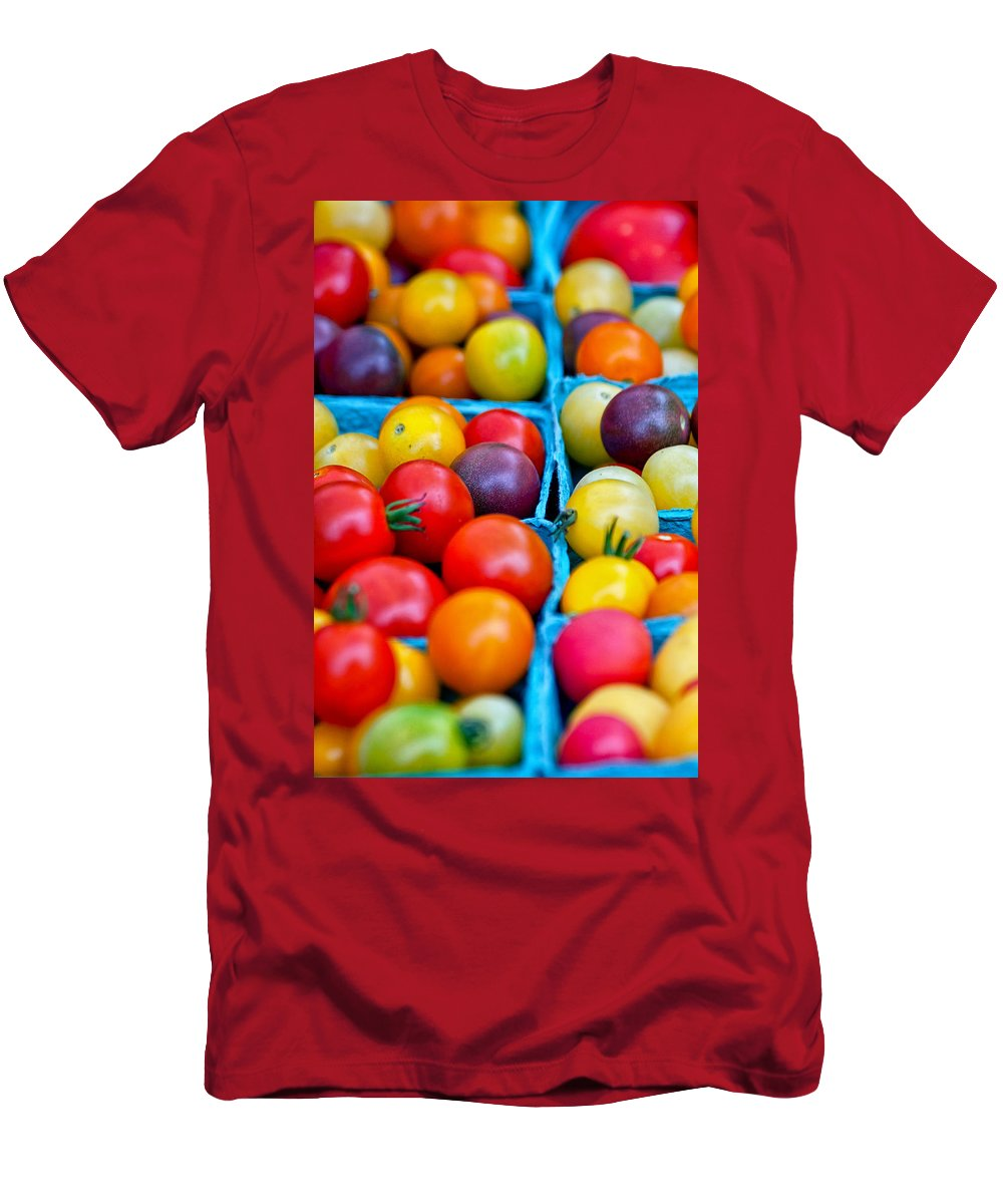 Tomatoes Men's T-Shirt (Athletic Fit) featuring the photograph Cherry Tomatoes by Lauri Novak