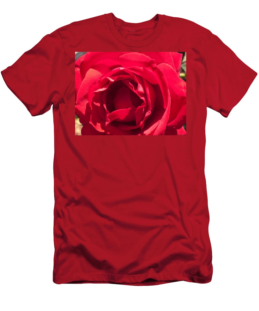 Rose Men's T-Shirt (Athletic Fit) featuring the photograph Close Up Of The Petals Of A Red Rose by Ashish Agarwal