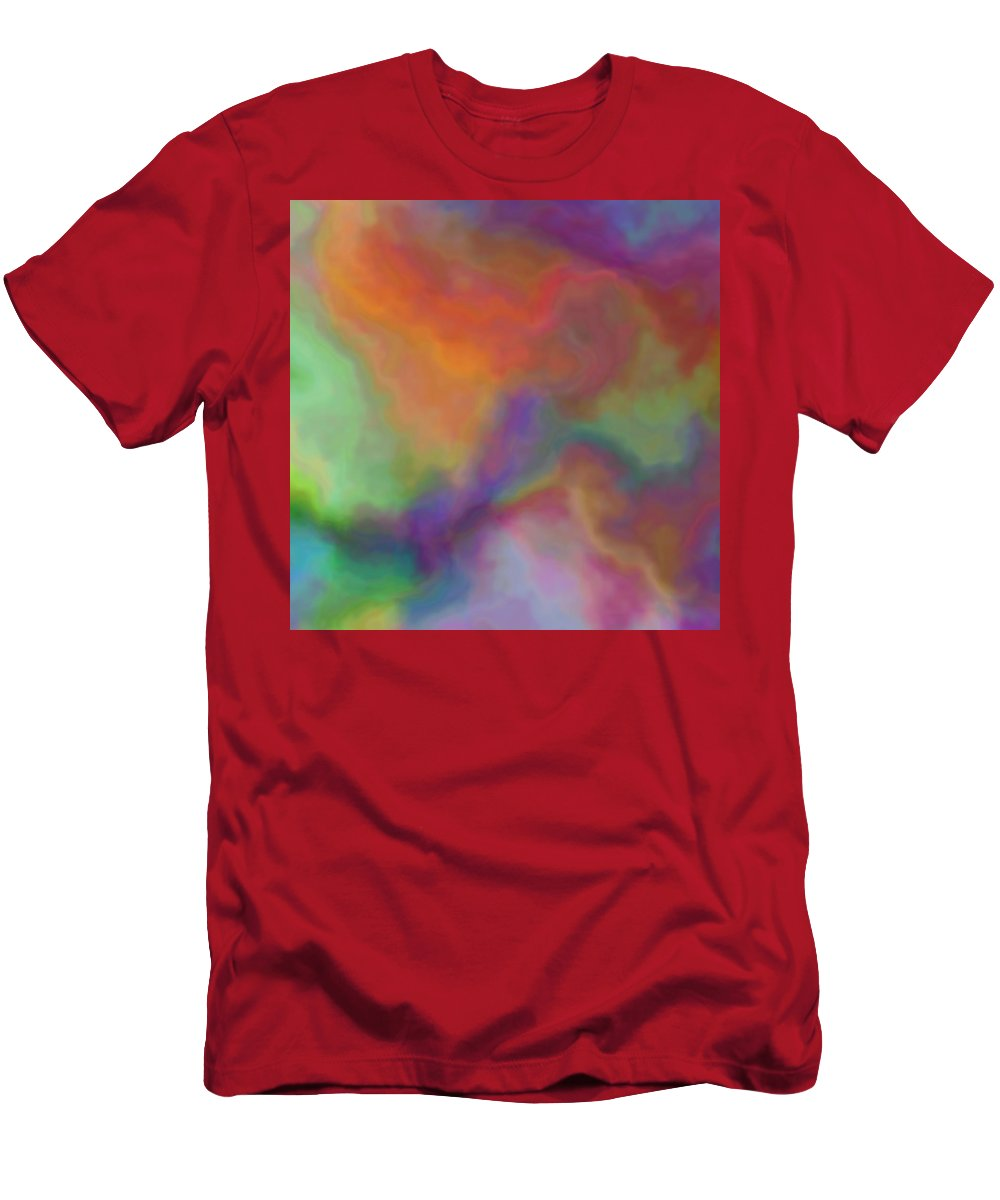 Colorful Dreams Abstract Men's T-Shirt (Athletic Fit) featuring the digital art Colorful Dreams Abstract by Christy Leigh