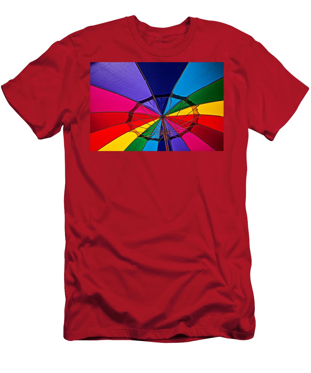Colorful Umbrella Parasol Shade Colors Men's T-Shirt (Athletic Fit) featuring the photograph Colorful Umbrella by Garry Gay