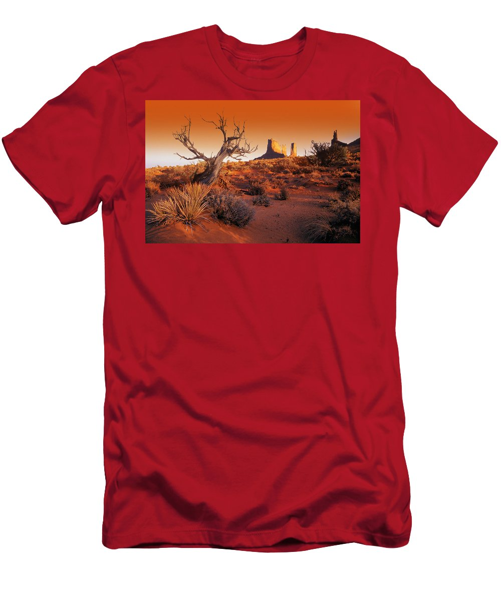 Arizona Men's T-Shirt (Athletic Fit) featuring the photograph Dead Tree In Desert Monument Valley by Don Hammond