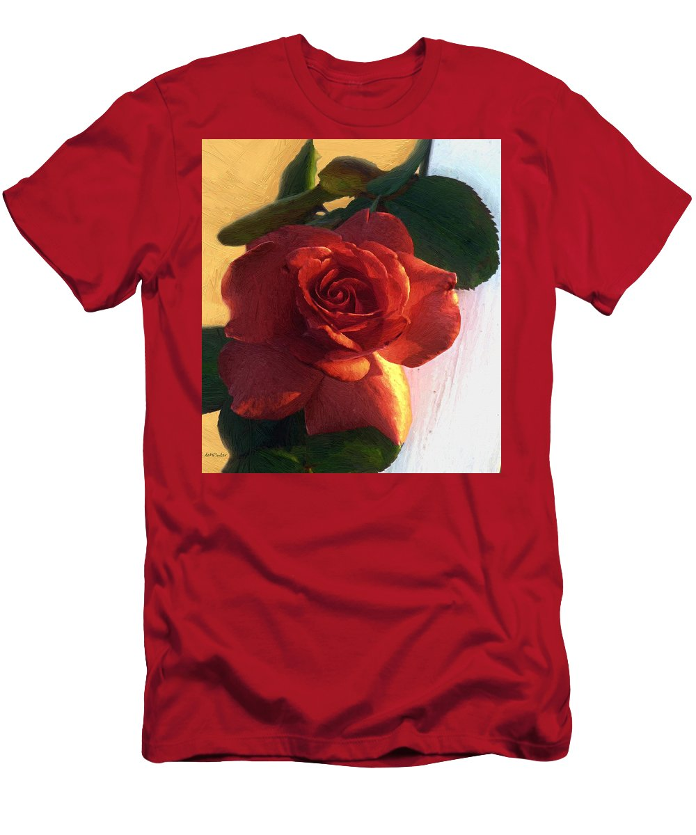 Floral Men's T-Shirt (Athletic Fit) featuring the painting Desire In Coral by RC DeWinter