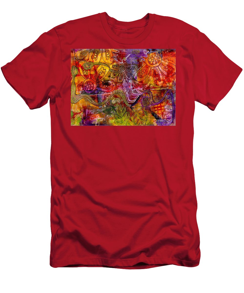Acrylic Men's T-Shirt (Athletic Fit) featuring the mixed media Down The Rabbit Hole by Angela L Walker