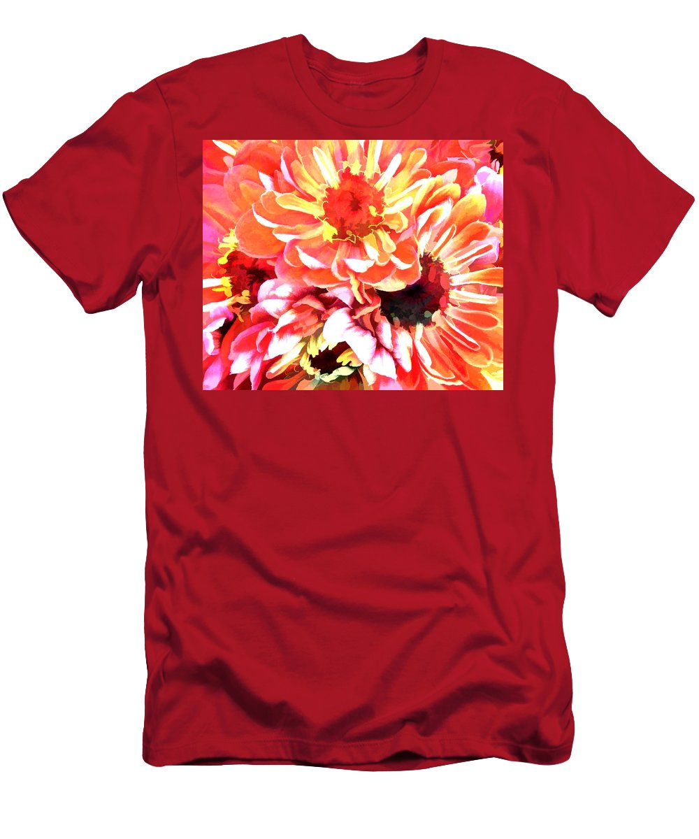 Flower Flowers Garden Zinnias Zinnia Abstract Orange Colorful Flora Floral Nature Natural Men's T-Shirt (Athletic Fit) featuring the painting Explosion Of Bright Zinnias by Elaine Plesser