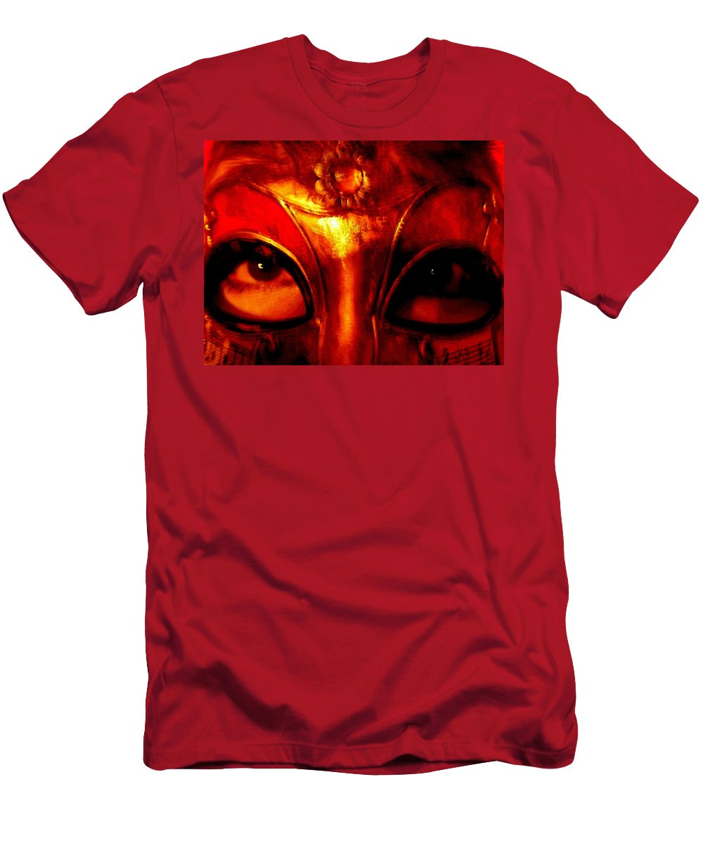 Self-portrait Men's T-Shirt (Athletic Fit) featuring the photograph Eyes Behind The Mask by April Patterson