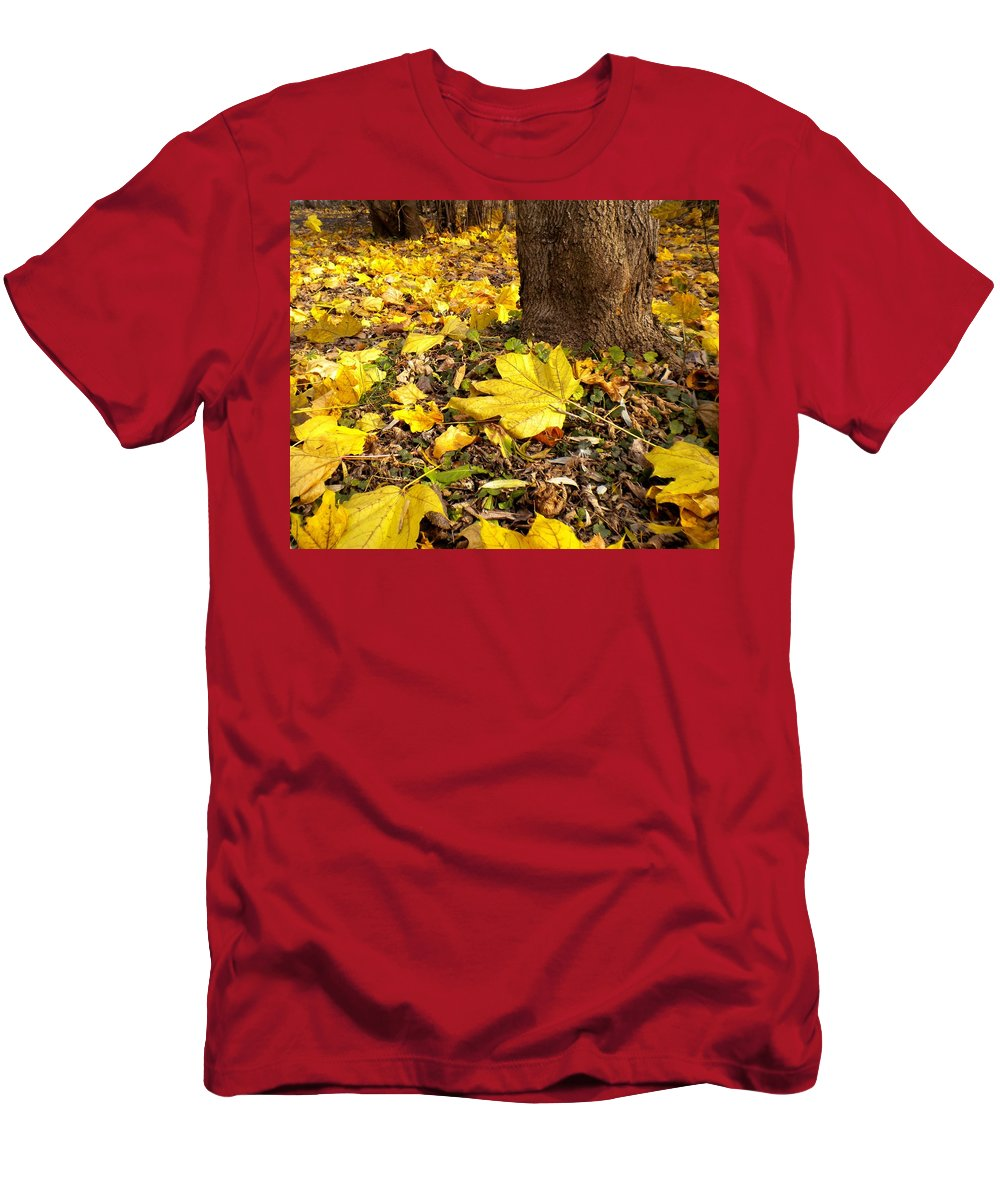 Maple Men's T-Shirt (Athletic Fit) featuring the painting Fall Floor by Renate Nadi Wesley