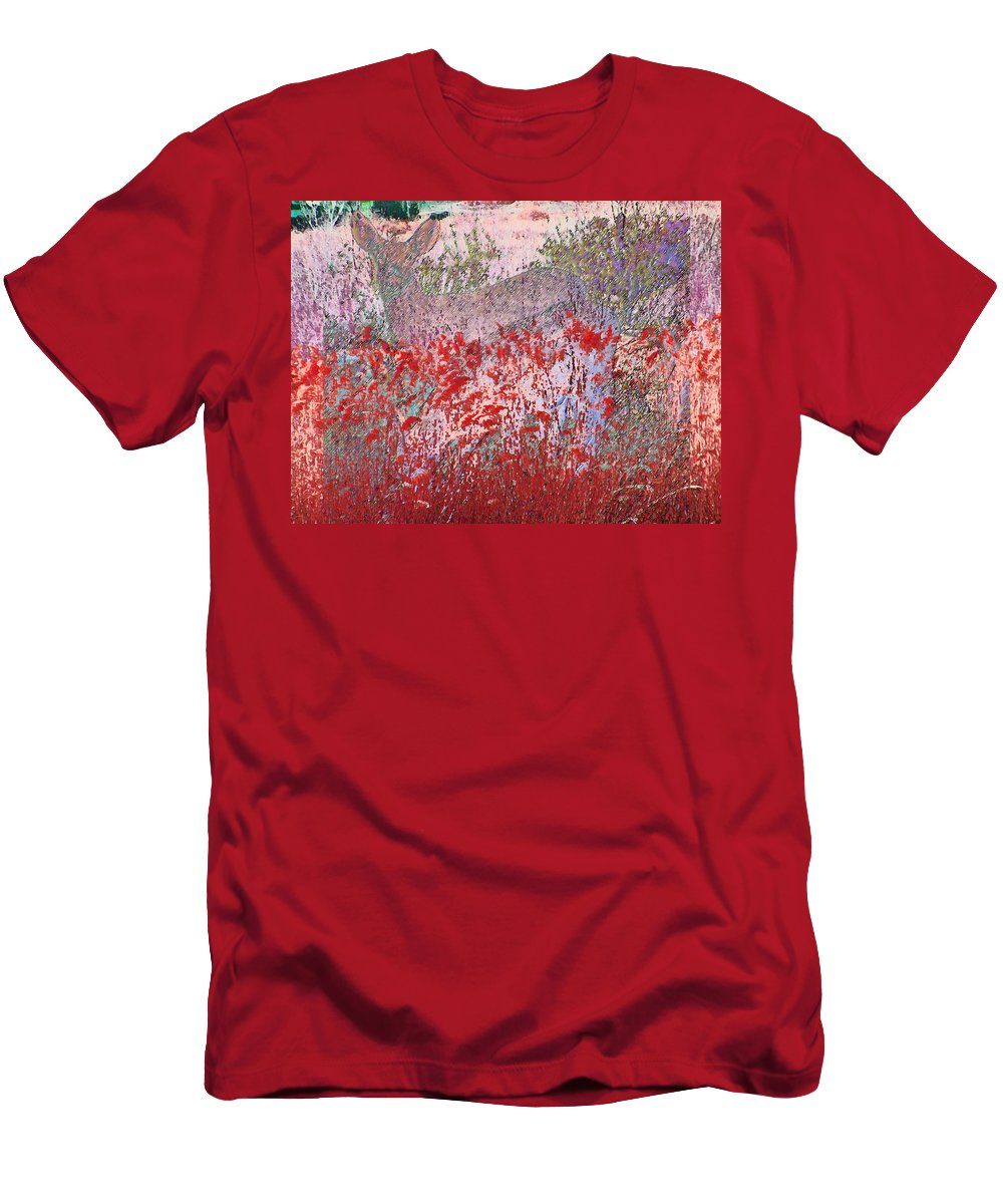 Abstract Men's T-Shirt (Athletic Fit) featuring the photograph Fawns Hiding In Grass by Lenore Senior