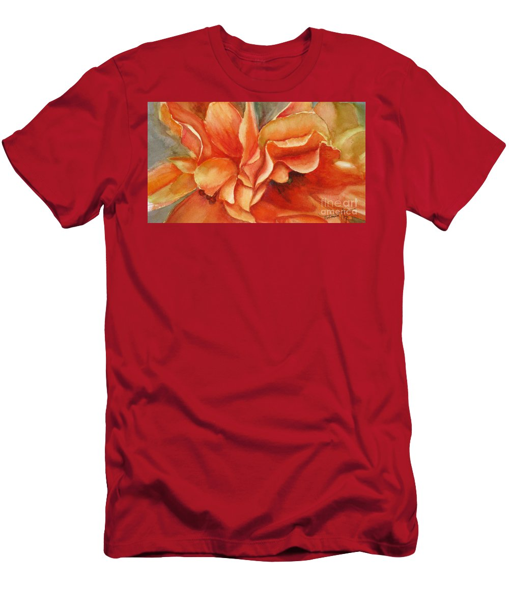 Orange Men's T-Shirt (Athletic Fit) featuring the painting Floral Flash by Mohamed Hirji