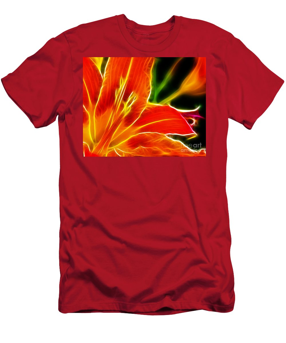 Flower - Electric Lily - Abstract Men's T-Shirt (Athletic Fit) featuring the photograph Flower - Lily 1 - Abstract by Paul Ward