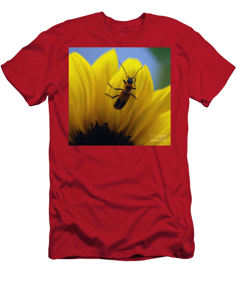 Bug Men's T-Shirt (Athletic Fit) featuring the photograph Flower And Bug by Ronald Grogan