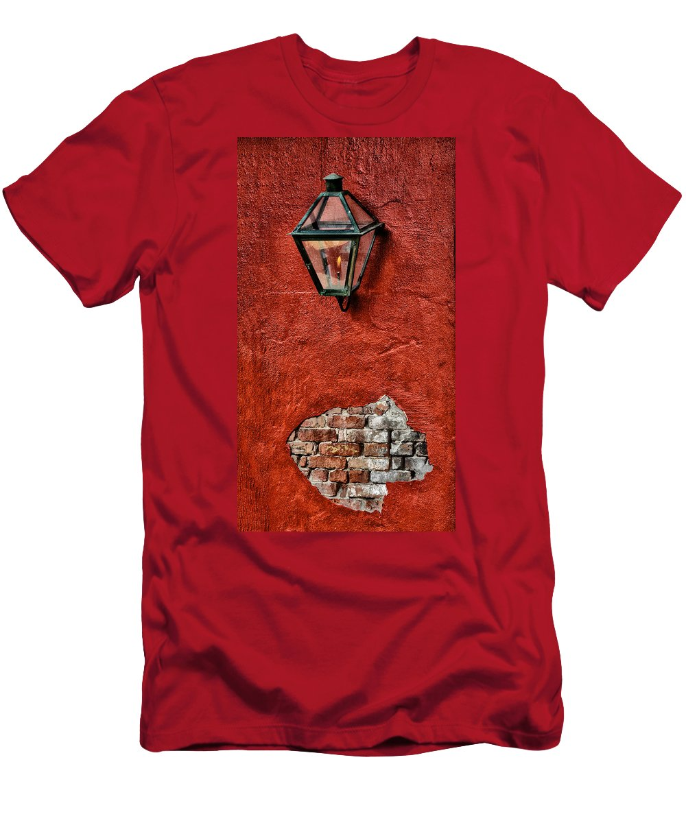Gaslight On A Red Wall Men's T-Shirt (Athletic Fit) featuring the photograph Gaslight On A Red Wall by Bill Cannon