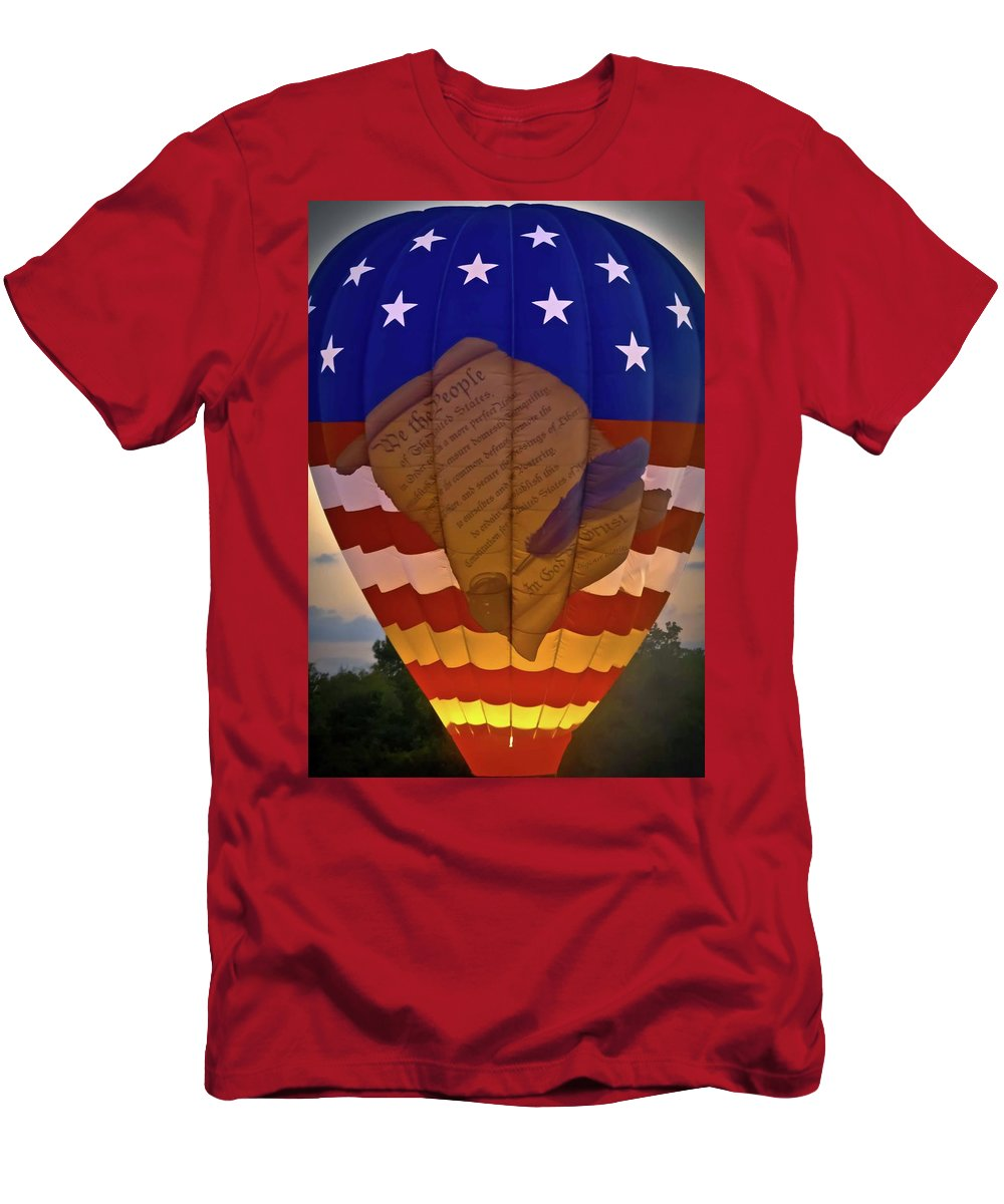 Balloon Men's T-Shirt (Athletic Fit) featuring the photograph Glowing Constitution by DigiArt Diaries by Vicky B Fuller