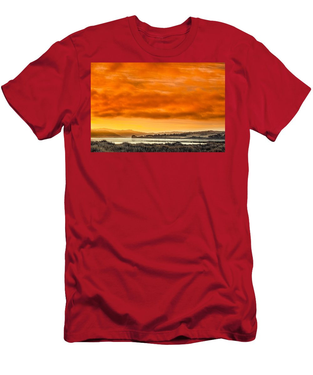 Humboldt Bay T-Shirt featuring the photograph Golden Morning Over Humboldt Bay by Greg Nyquist