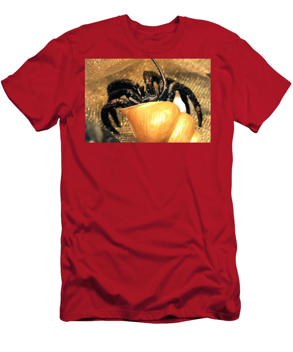 Gold Men's T-Shirt (Athletic Fit) featuring the photograph Golden Seashell Crab Still Life by Karon Melillo DeVega