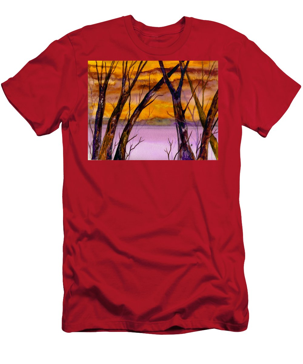 Landscape Men's T-Shirt (Athletic Fit) featuring the painting Golden Sunset by Brenda Owen