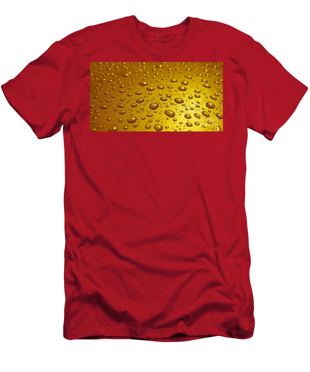 Bubble Men's T-Shirt (Athletic Fit) featuring the photograph Golden Water Drops. Business Card. Invitation Etc. by Ausra Huntington nee Paulauskaite