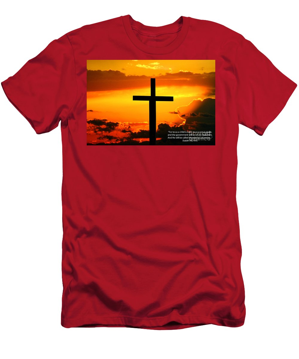 Christ Men's T-Shirt (Athletic Fit) featuring the photograph Isaiah 9-6 Niv by Tommy Anderson